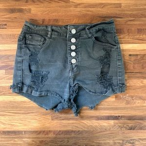 Black/Charcoal distressed jean shorts with button